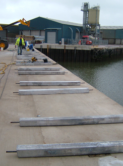 Preparation of Galvanic Sacraficial Anodes Ready for Installation on Quay Wall